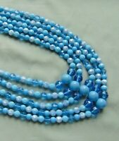 Vintage 50's-60's Blue Celluloid 5-Strand Bead Necklace