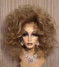 Drag Queen Wig Big Teased Out Lace Front Ash BLonde Hi Lites Shoulder Length