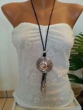 lange Halskette/ Statement Kette * Modeschmuck * Silber * Kreise * Lederband