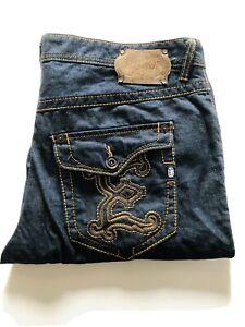 ECKO UNLIMITED Mens Baggy Fit Denim Jeans Size 40 Blue Rhino Logo 100% Cotton
