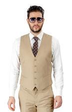 Mens Dress Beige Tan Suit Vest 5 Button V Neck Adjustable Back Strap Formal AZAR