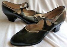 Vintage 1920s Black Leather Shoes Heels Size 4