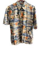 Pierre Cardin Mens Hawaiian Shirt Large Short Sleeve Floral Tropical Fishing