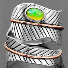 Feather Two Tone Ethiopian Opal 925 Sterling Silver Ring Jewelry s.6 SDR7770