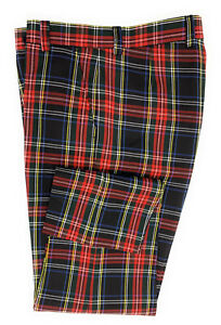 Mens Black Stewart Tartan Trouser Short, Regular and Long