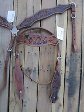 HEADSTALL BREASTCOLLAR PAINTED TOOLED LEATHER PLEASURE WESTERN HORSE TACK BRIDLE