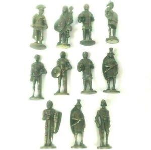 "Lot of 11 Pewter Metal Miniature Warriors Roman Soldier Knight Conquistador 1.5"""
