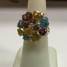 10k Yellow Gold Diamond Blue Topaz Citrine Amethyst Heart Shaped Cluster Ring