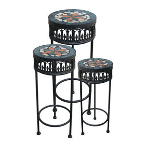 Metall Blumenhocker Blumensäule Beistelltisch Tisch Mosaik rund schwarz