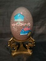 Hand Painted Birdhouses on Ostrich Egg on Brass Stand