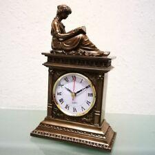 LESENDE SCHÖNHEIT Uhr Tischuhr Kaminuhr Polystein Farbe BRONZE 25cm