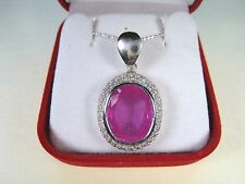 10.94 CTW PINK RUBY & WHITE SAPPHIRE NECKLACE - WHITE GOLD over 925 SILVER