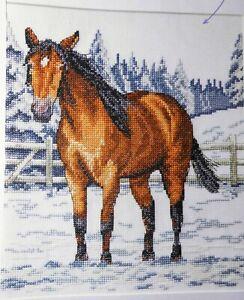 Stickvorlage,Point de Croix,Jenny Barton,Winterlandschaft,Schnee,Pferd,Dmc