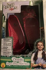 The Wizard of Oz Dorothy Sequin Deluxe Child Shoes Ruby Slippers Sz Medium