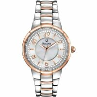 Bulova Diamond Mother of Pearl Watch 98R162 Two Tone Rose Gold Ladies RRP £349