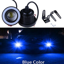 "3"" LED Fog Daytime Running Light Projector w/ Blue COB Halo Angel Eyes Rings"