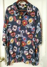 GEORGE XXXL 3XL 54-55 Rayon S/s button down Beer Label Drinking Shirt Big & tall