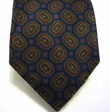 "mens tie Aquascutum London 100% silk vintage blue graphic print  3 1/2"""