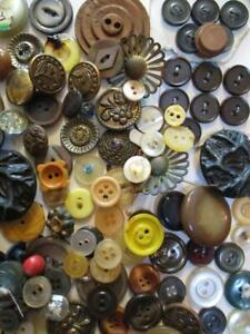 Lot Vtg BUTTONS/Mother of Pearl/Abolone/Glass/Plastic/Leather/Wood/Metal/Fabric