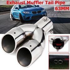 Universal 63mm Stainless Steel Dual Outlet Car Muffler Exhaust Tip End Tail Pipe