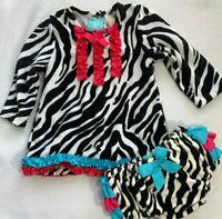 Mud Pie Boutique Girls 12-18 Months Zebra Dress & Bloomer Wild Child Collection