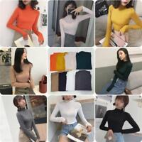 Vogue Women Ladies Casual Long Sleeve Turtleneck Top Stretch Slim Basic T-Shirt
