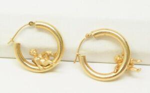Peter Brams Design PBD 14K Yellow Gold Angel / Cherub Hoop Earrings