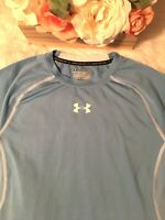 Under Armour Heat Gear Compression Shirt Teal Blue Large Women's