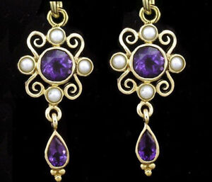 E123 Genuine 9ct Yellow Gold NATURAL Pearl & Birthstone Drop Earrings Scroll