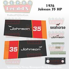 1976 Johnson 35 HP Sea-Horse Outboard Reproduction 10 Pc Marine Vinyl Decals