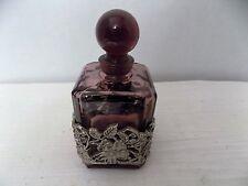 Vintage Amethyst empty Perfume Bottle w/ Stopper Dauber