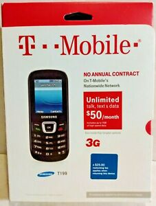 Samsung SGH-T199 Black T-Mobile Cell Phone 3G No Annual Contract Factory Sealed