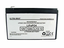 LI12-12 Ultramax 12v 12Ah LiFePO4 Lithium Iron Phosphate Battery and Charger
