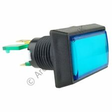 Rectangular Illuminated Arcade Button - Blue with 12V LED and 4.8mm Microswitch