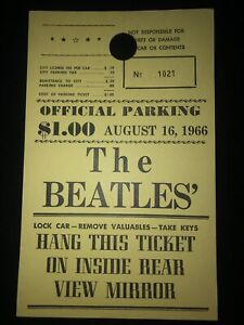 The Beatles Parking Pass Stub Aug 16, 1966 JFK Stadium Philadelphia, PA
