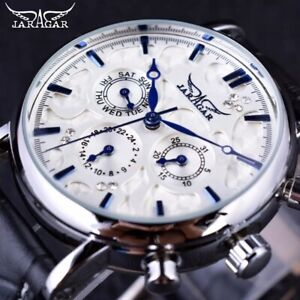 JARAGAR Men's Wrist Watch Mechanical Piaget Winding Leather Bracelet Chronograph