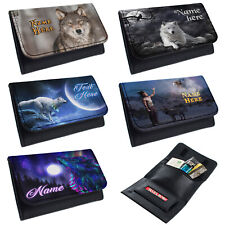 More details for personalised tobacco pouch wolf rolling baccy wallet smoking gift wolves moon