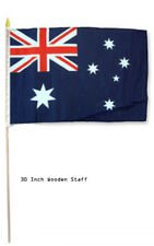 "12x18 Wholesale Lot 3 Australia Country Stick Flag 30"" wood staff"