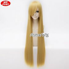 Teen Titans Terra Anime Straight Long Blonde Women Cosplay Synthetic Hair Wig