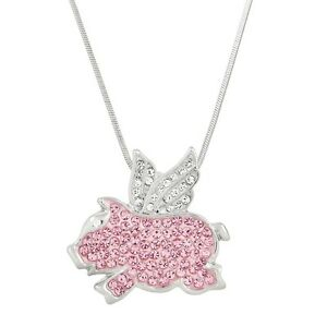 """Flying Pig Charm Pendant Fashionable Necklace - Sparkling Crystal - 17"""" Chain"""
