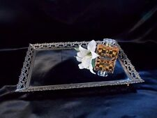 "Large Vanity Dresser Perfume Mirrored Tray 18""x 12"" Filigree Design"