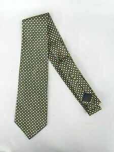 Charvet Place Vendome Silk Geometric Pattern Tie (made in France) Blue & Yellow