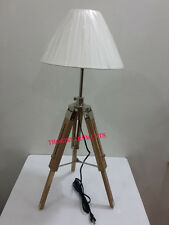 Restoration Surveyors Table Lamp Chrome With Original Teak wooden tripod lamp