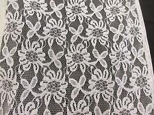 Brilliant White Fancy Floral Lace Dress Fabric. Price Per Metre.
