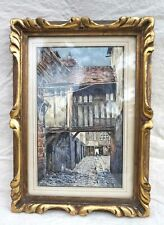 Old Timbered Houses Lisieux Normandy Etching Woodblock Print Signed Bernard