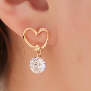 Lovely Women Rhinestone Heart Shape Gold Crystal Zircon Ear Stud Earrings Gift