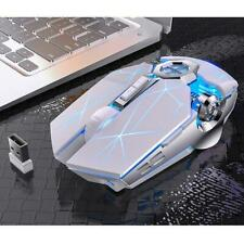 Gaming Mouse Rechargeable Wireless Silent Mouse LED Backlit 2.4G USB 1600DPI Opt
