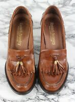 RUSSELL & BROMLEY CHESTER Tan Brown Leather Heeled Loafers Size EU 38.5 / UK 5.5