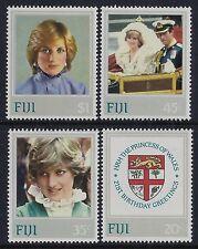 1982 FIJI PRINCESS DIANA 21st BIRTHDAY SET OF 4 FINE MINT MNH/MUH