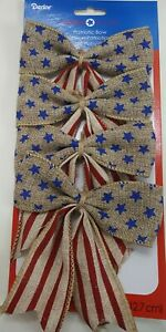 "Pack of 4 Patriotic Americana Burlap 4.5"" Bows Star Stripes New July 4th Decor"